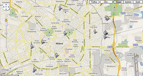 Mappa ANTENNE GWIFI Milano