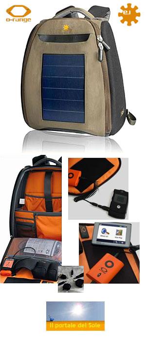 ce28c79f23 Zaino da viaggio dotato di pannello solare 20x30 cm che permette di  ricaricare dovunque accessori elettronici: quali cellulare, lettore Mp3,  fotocamera, ...