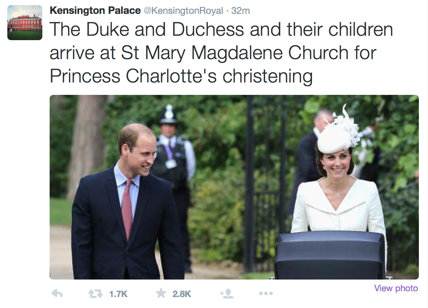 Kate Middleton, William e il battesimo di Charlotte: le prime foto