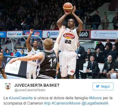 Cameron MOORE è morto: basket sotto choc. In Italia a Caserta e Venezia