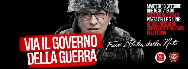 Manifestazione contro l'invio dei soldati italiani in Lettonia