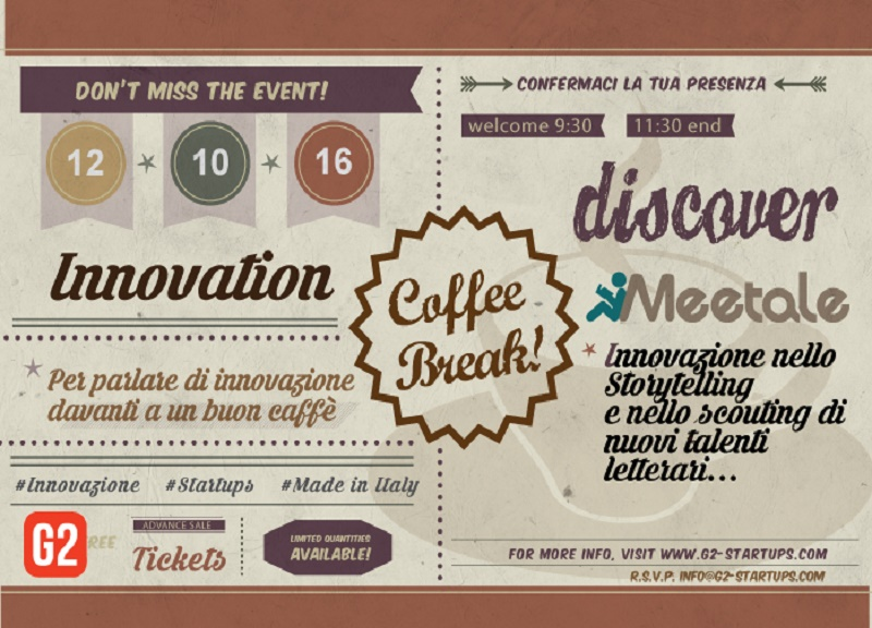 Lunedì 12 ottobre primo appuntamento con Innovation Coffee Break in Copernico Milano: punto di incontro tra attori del mercato con G2