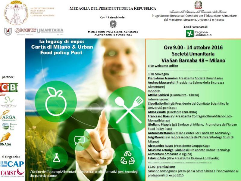 A Milano, la Società Umanitaria, presenta la V edizione del Salone della Sicurezza Alimentare con una giornata dedicata alla Legacy di Expo 2015