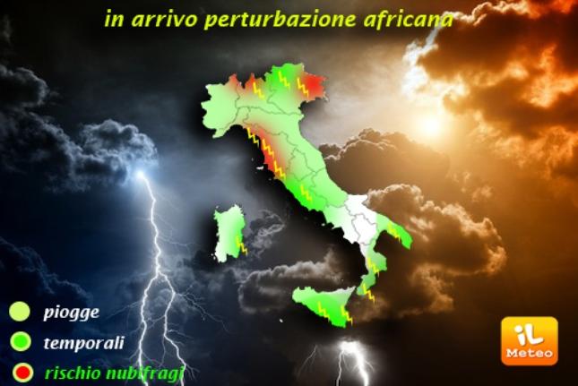 Una perturbazione di origini africana raggiungerà molte regioni italiane