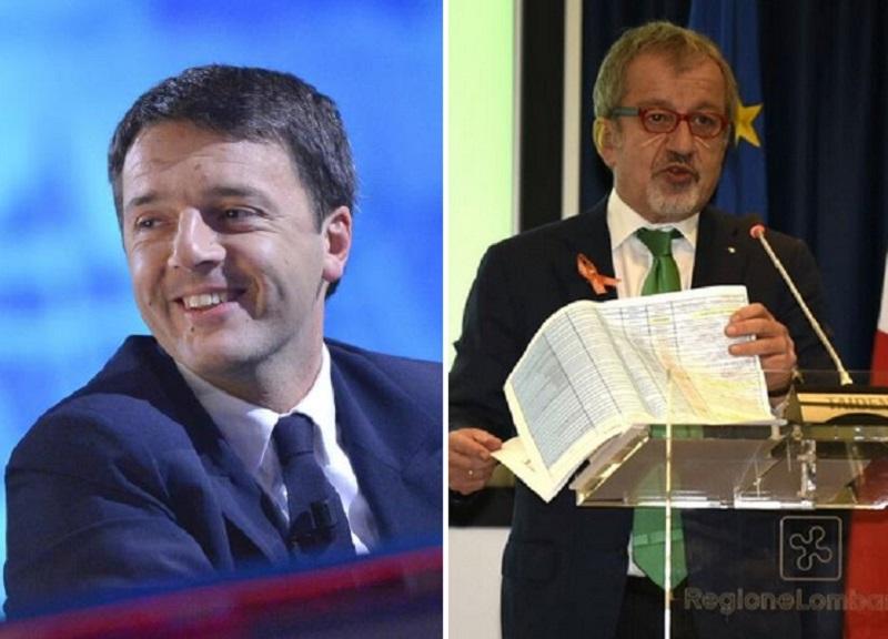 Il premier Matteo Renzi a Palazzo Lombardia per la sigla del Patto da 11 miliardi di euro di investimenti assieme a Roberto Maroni