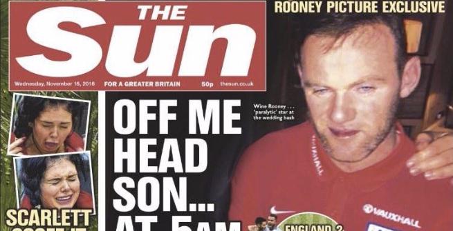 """Inghilterra, Rooney ubriaco a un matrimonio. Invitati al Sun: """"Era completamente sbronzo"""""""