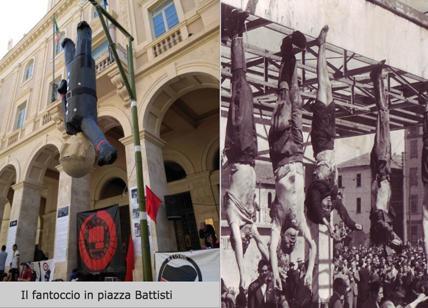 25 aprile piazzale Loreto a Macerata. Mussolini appeso a cui spaccare la testa