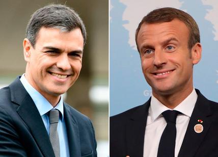 Risultati immagini per Macron e Sanchez immagini