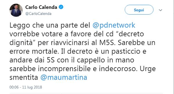 Tweett calenda m5s decreto dignità