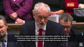 "Brexit, Corbyn: ""No a colloqui con May se non esclude 'no deal'"""