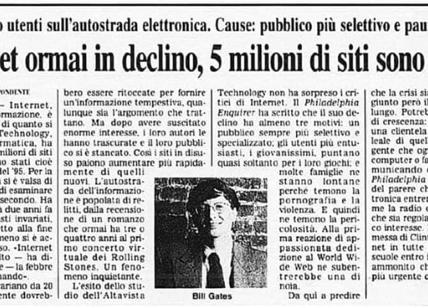 Nel 1997 si dava Internet per morto. Stupidità o ignoranza? Forum