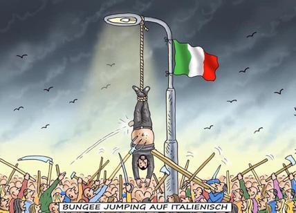 Salvini, spunta vignetta con lui a testa in giù: