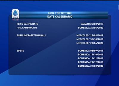 Raffaella Fico Calendario 2020.Serie A 2019 2020 Juve Napoli E Lazio Roma Alla 2 Milan