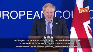 "Brexit, Johnson: ""Fiducioso in sì di Westminster all'accordo"" SOTTOTITOLI"