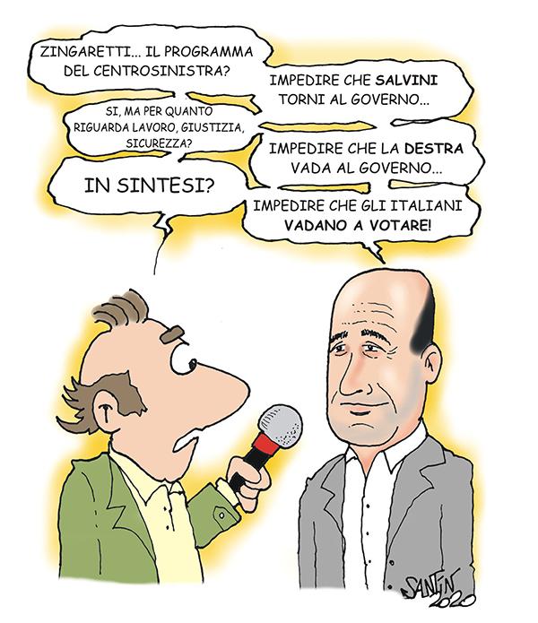 Zingaretti annuncia il programma del Centrosinistra... La vignetta ...