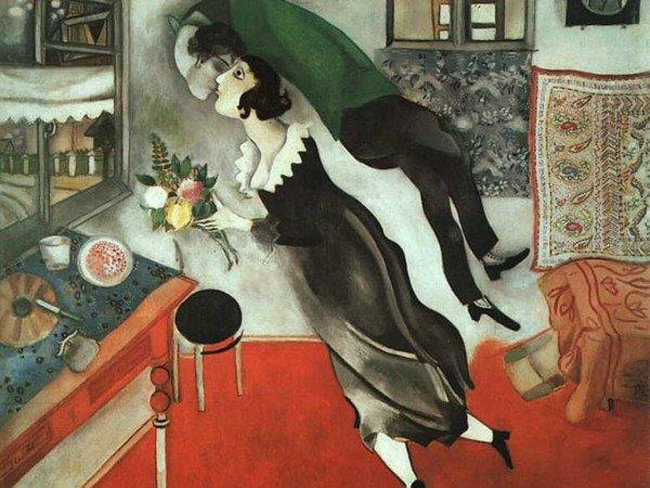 Marc Chagall, Il compleanno, 1915, olio su cartone. The Museum of Modern Art, New York.  © 2014. Digital image, The Museum of Mo